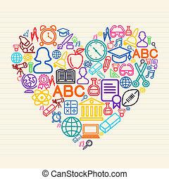 illustr, école, concept, amour, dos