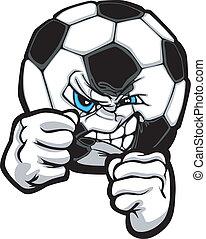 illustr, boule football, combat, vecteur