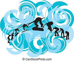 illustr, vecteur, illustration., patineur