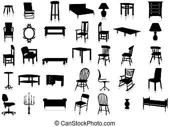 illustr, vecteur, silhouette, meubles