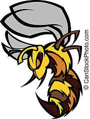 illustrat, graphique, vecteur, frelon, abeille