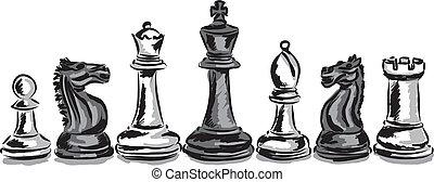 illustrat, jeu, concept, morceaux échecs