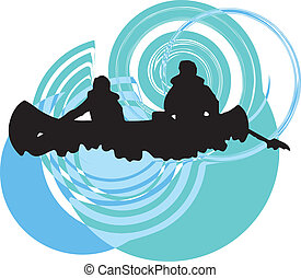 illustrat, river., vecteur, kayaking