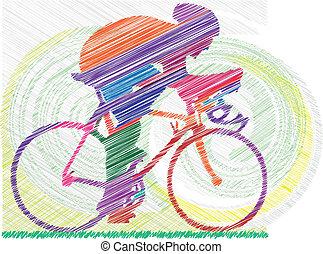illustrat, vecteur, mâle, bicycle.