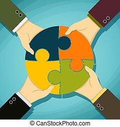 illustratio, vecteur, humain, morceaux, tenue, puzzle., mains, stockage