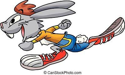 illustration, éclair, courant, vecteur, jeûne, lapin, dessin animé