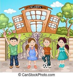 illustration, école, bâtiment