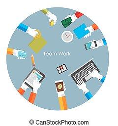 illustration, équipe, vecteur, travail, concept, plat