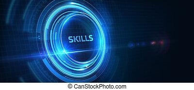 illustration., 3d, concept., technologie internet, compétence, réseau, connaissance, ability., business