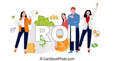 illustration, accomplir, heureux, investissement, roi., business, retour, obtenir, concept, return., gens, vecteur