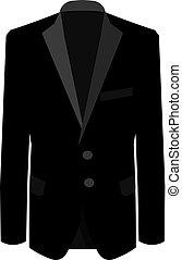 illustration affaires, business, complet, arrière-plan., suit., vecteur, costume noir, blanc, mens, homme