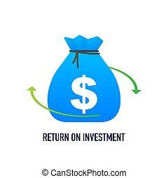illustration affaires, design., retour, concept, fond, investissement, roi, isométrique, commercialisation, vecteur