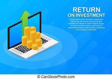 illustration affaires, design., retour, concept, fond, investissement, roi, isométrique, commercialisation, vecteur, stockage