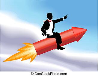 illustration affaires, homme, concept, fusée