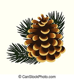 illustration., affiche, brindilles, arbre, isolé, pin, échantillon, arrière-plan., unique, vecteur, invitation, blanc, pinecone, autre, cartes.