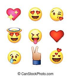 illustration., amour, vecteur, ensemble, fond, isolé, blanc, icônes, jour, emoticon, valentines, emoji