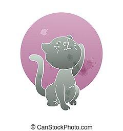illustration, aquarelle, art, chat, main, style, élévation lune, mignon, chaton, artistique