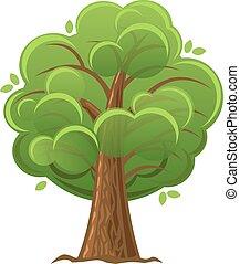 illustration., arbre, arbre chêne, vecteur, vert, foliage., dessin animé, luxuriant