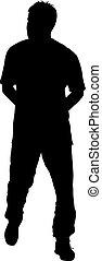 illustration, arrière-plan., silhouettes, vecteur, noir, blanc, homme