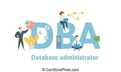 illustration., arrière-plan., vecteur, base données, lettres, isolé, blanc, dba, gens, plat, concept, administrator., icons.