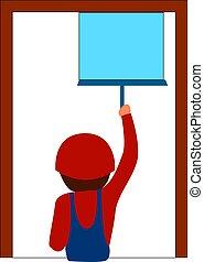 illustration, arrière-plan., vecteur, nettoyage, fenêtre, blanc, homme