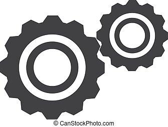 illustration, arrière-plan., vecteur, noir, engrenages, blanc, icône