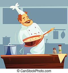 illustration, atelier, cuisine