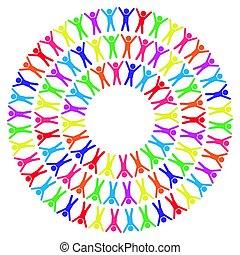 illustration, autour de, gens, mondiale, coloré, vecteur