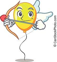 illustration, balloon, cupidon, forme, jaune, dessin animé