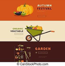 illustration, bannière jardinage, ensemble, outils, passe-temps, stockage, vecteur, légumes