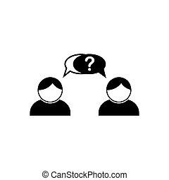illustration, blanc, discussion, gens., deux, noir, icon., réponse, question., entre, vecteur, dialogue