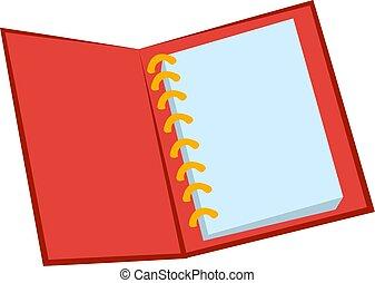 illustration, blanc rouge, cahier, vecteur, arrière-plan.