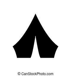 illustration, blanc, symbole., arrière-plan., vecteur, noir, touriste, camper tente, icône, isolé
