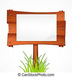 illustration., bois, signe, vecteur, planche, stick.