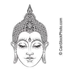 illustration., bouddhisme, thaï, isolé, dieu, vecteur, spirituel, vendange, hippie, white., tatouage, art., indien, yoga, zen, ésotérique, bouddha, spiritualité, figure