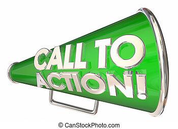 illustration, bullhorn, mots, action, appeler, message, porte voix, 3d