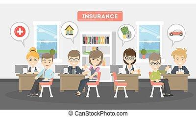 illustration., bureau, assurance