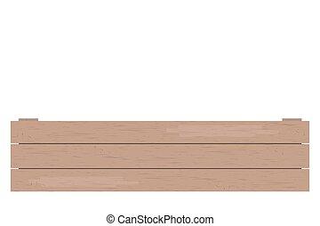 illustration., caisse bois, isolé, vecteur, fond, blanc