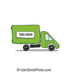 illustration, camion, griffonnage, lignes, croquis