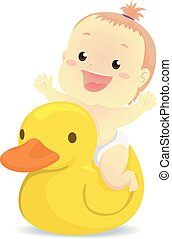 illustration, caoutchouc, vecteur, canard, bébé, équitation