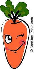 illustration, carotte, blanc, cligner, vecteur, arrière-plan.