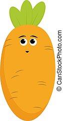 illustration, carotte, blanc, vecteur, arrière-plan.
