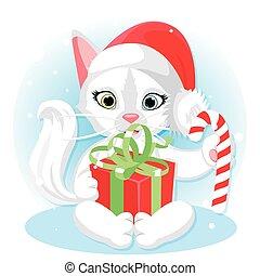 illustration, carte, mignon, année, nouveau, boîte, cadeau, noël, bonbon, dessin animé, design., chat