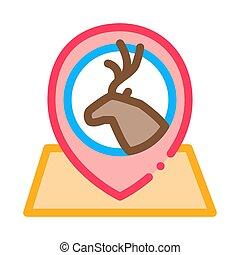 illustration, cerf, vecteur, emplacement, contour, icône