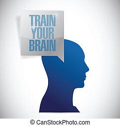 illustration, cerveau, train, conception, message, ton
