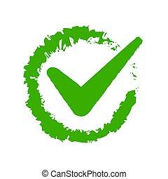 illustration, chèque, blanc, vert, arrière-plan., vecteur