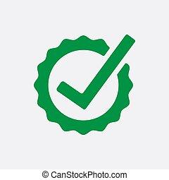illustration., chèque, bouton, liste, marque, vecteur, vert, icon., signe., rond