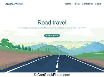illustration, champs, montagnes, page, vecteur, route