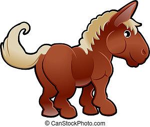 illustration, cheval, mignon, vecteur, animal ferme