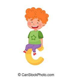 illustration, chevelure, séance, grand, lettre alphabet, c, garçon, gai, vecteur, rouges